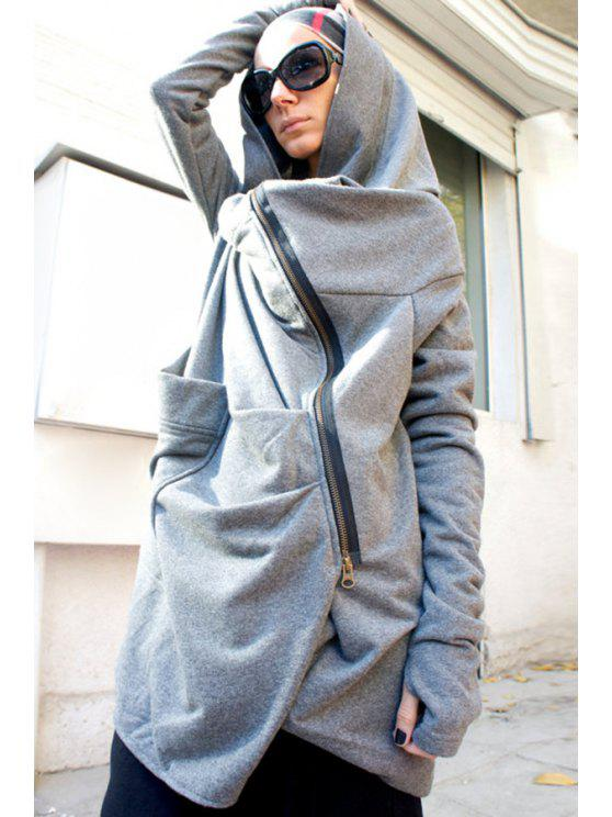 trendy Hooded Irregular Zipper Trench Coat - GRAY M