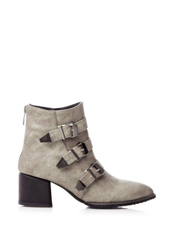 outfits Buckles Pointed Toe Chunky Heel Short Boots - KHAKI 36