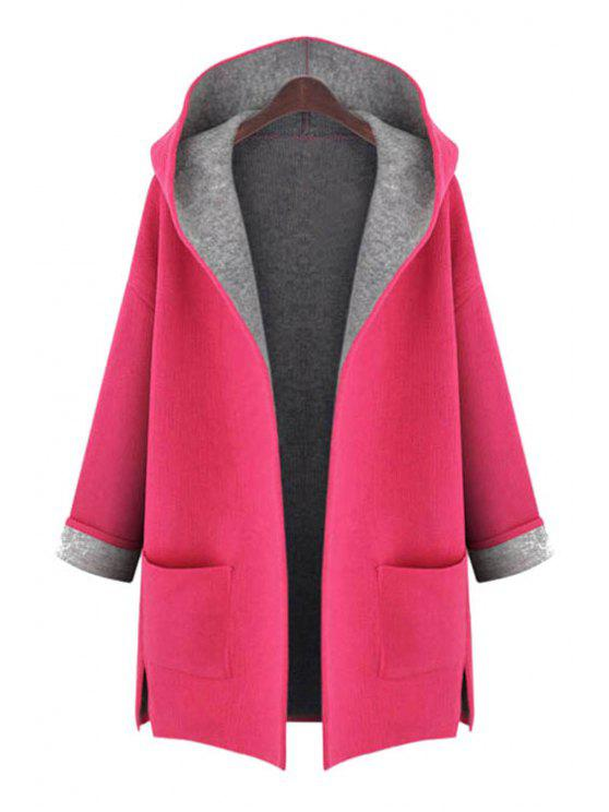 fashion Hooded Long Sleeve Two Pockets Coat - RED 3XL