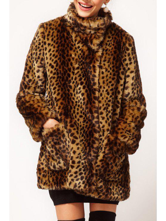 sale Faux Fur Leopard Print Long Sleeves Coat - LEOPARD S