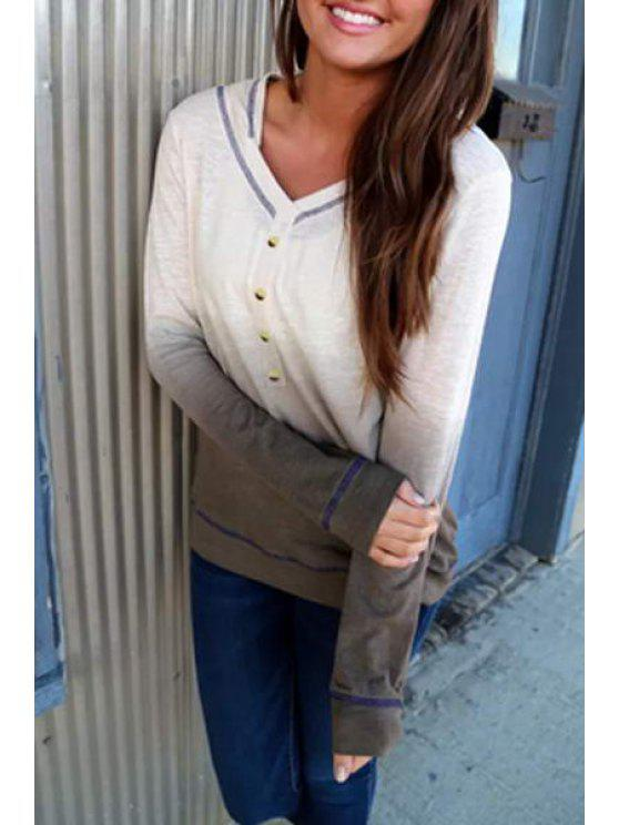 ladies Ombre Color Pullover Hoodie - GRAY S