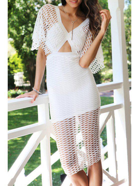 women White Hollow V Neck Half Sleeve Dress - WHITE S