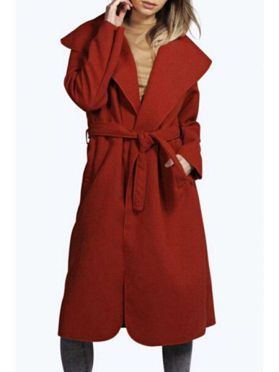 women's Large Lapel Self-Tie Belt Solid Color Coat - RED M