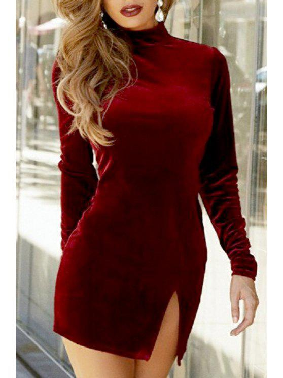 new Solid Color Side Slit Stand Collar Long Sleeves Dress - WINE RED S