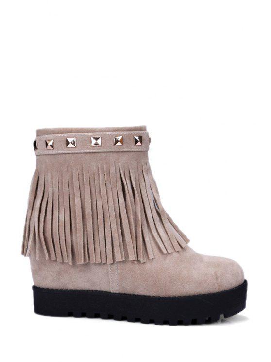 shops Rivet Hidden Wedge Fringe Short Boots - OFF-WHITE 39