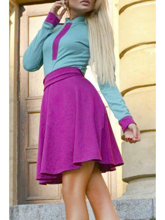 chic Color Block Spliced Stand Collar Long Sleeves Dress - PURPLE S