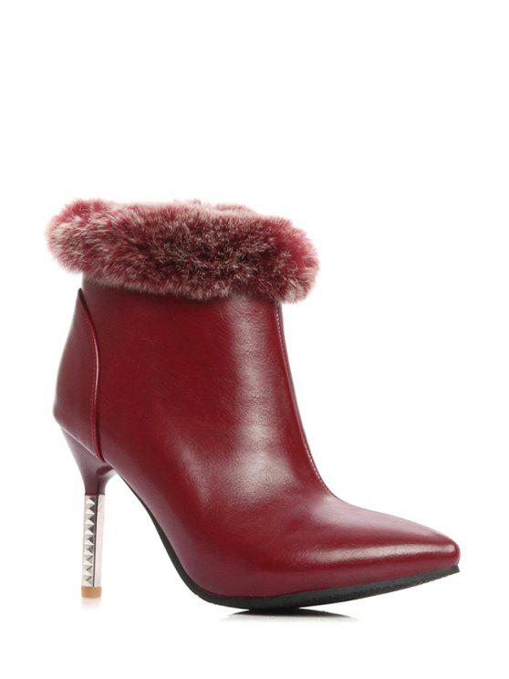 latest Faux Fur Pointed Toe Ankle Boots - WINE RED 38