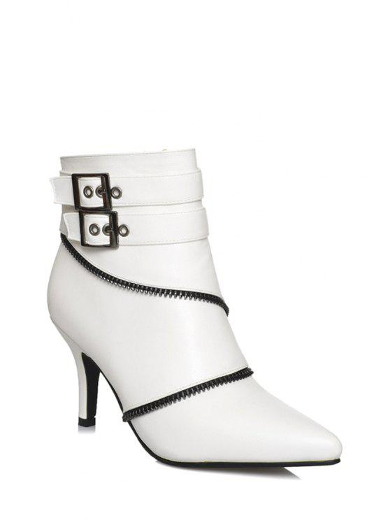 sale Pointed Toe Zipper Buckles Short Boots - WHITE 35