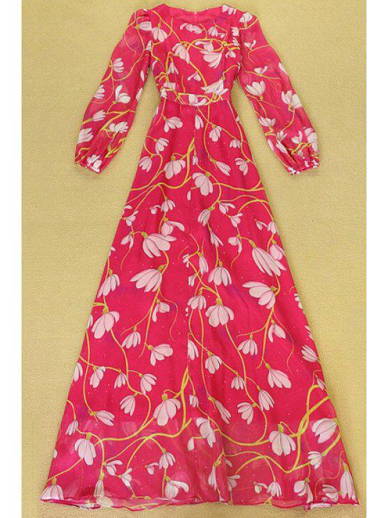 unique Full Floral Print Long Sleeve Maxi Dress - RED S