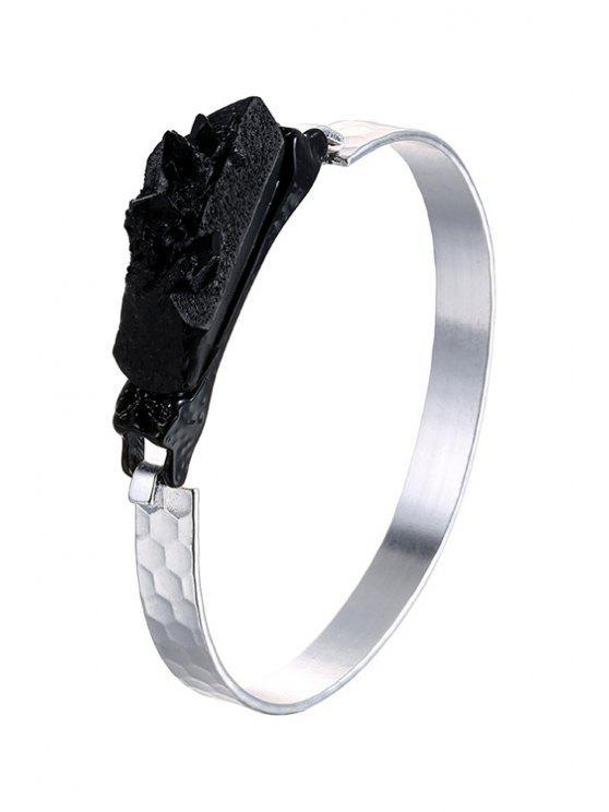 lady Black Resin Metal Bracelet - SILVER