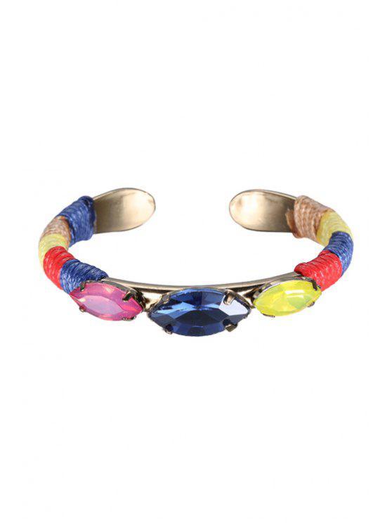 best Faux Gem Woven Cuff Bracelet - COLORMIX