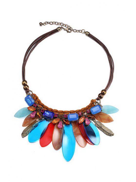 sale Feather Shape Statement Necklace - COLORMIX