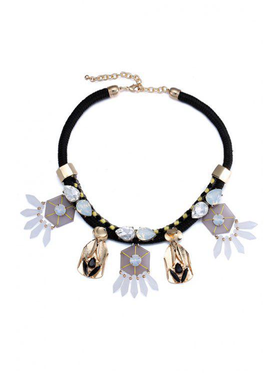 affordable Geometric Faux Gem Pendant Necklace - BLACK