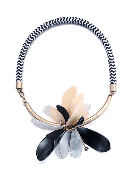 buy Flower Statement Necklace - BLACK