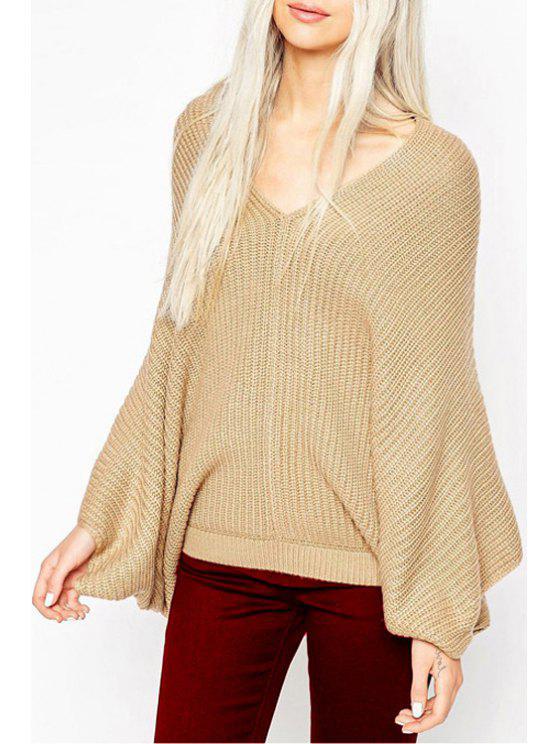 unique Dolman Sleeve Khaki Oversized Sweater - KHAKI S