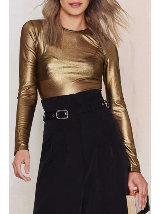 lady Long Sleeve See-Through T-Shirt - GOLDEN XL