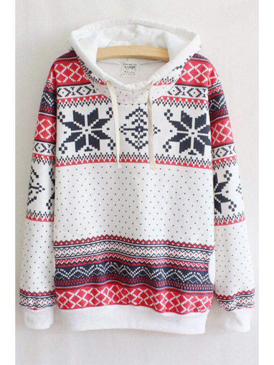 hot Snowflake Print Hooded Neck Long Sleeves Drawstring Hoodie - WHITE S