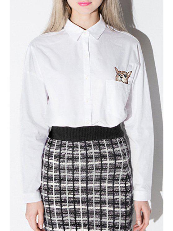 online Long Sleeve Kitten Print White Shirt - WHITE XS