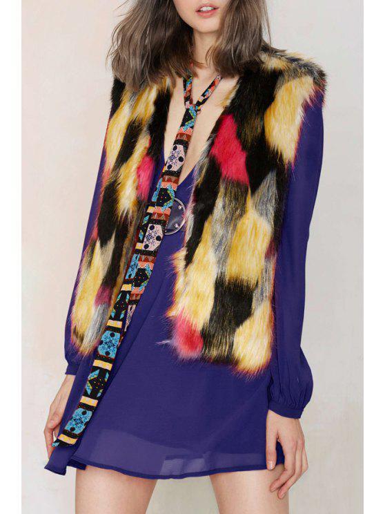 womens Faux Fur Color Block Waistcoat - COLORMIX XS