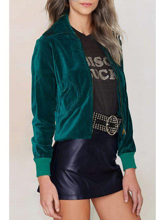 women's Solid Color Velvet Turn-Down Collar Jacket - GREEN XS