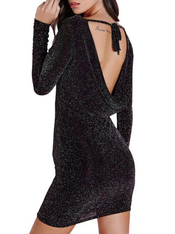 outfit Backless Round Collar Long Sleeves Dress - BLACK M