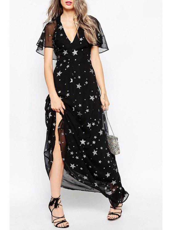 womens Frill Sleeve Star Print Black Chiffon Dress - BLACK XS