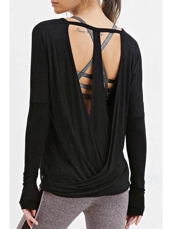 affordable Solid Color Cut Out Round Collar T-Shirt - BLACK XS