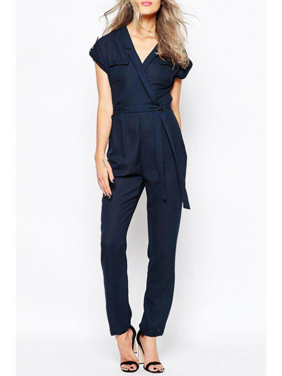 latest Cross-Over Collar Short Sleeve Tie-Up Jumpsuit - BLUE 2XL