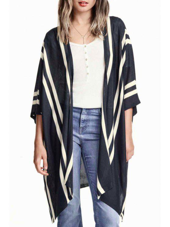 women's Striped Loose Fitting Batwing Sleeves Long Cardigan - DEEP BLUE S