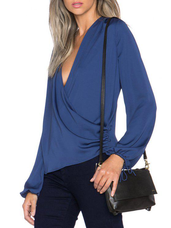 chic Solid Color Plunging Neck Long Sleeves Blouse - BLUE XS