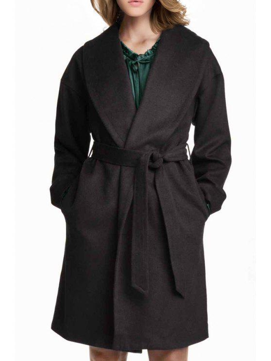 trendy Solid Color Turn-Down Collar Wrap Coat - BLACK XS