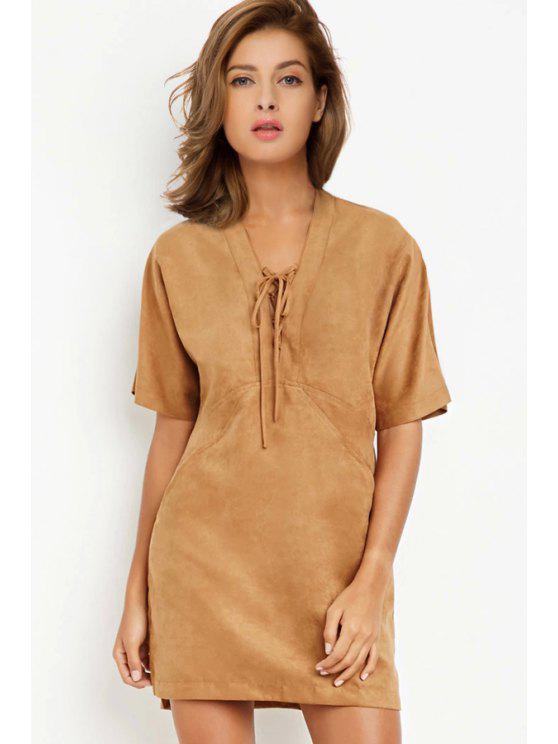 hot Suede Solid Color V-Neck Short Sleeves Dress - CAMEL M
