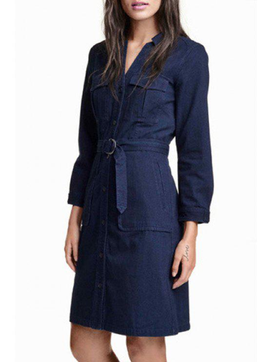 fancy Long Sleeve Single-Breasted Belted Denim Dress - PURPLISH BLUE 2XL