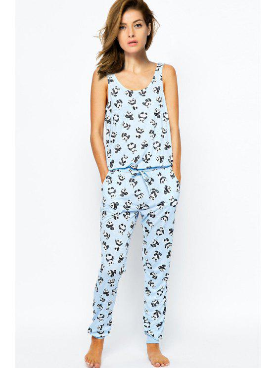 lady Cartoon Print Straps Drawstring Jumpsuit - LIGHT BLUE 2XL