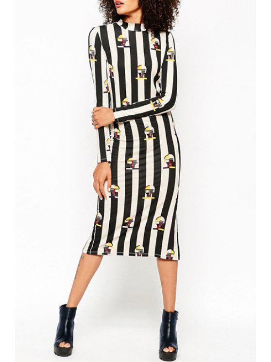 trendy Printed Striped Stand Collar Long Sleeves Dress - BLACK L