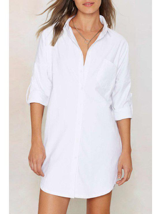 online Solid Color Shirt Collar Long Sleeves Shirt - WHITE XS