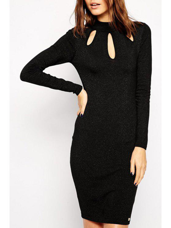 latest Cut Out Stand Collar Long Sleeves Dress - BLACK L