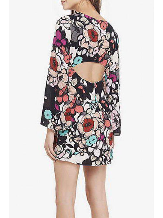 new Printed Cut Out Round Collar Long Sleeves Dress - COLORMIX S