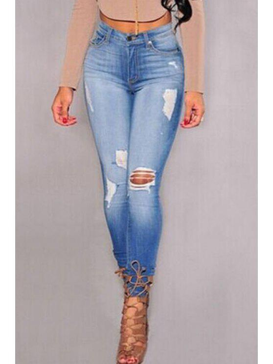 outfits High-Waisted Ripped Pencil Jeans - BLUE M