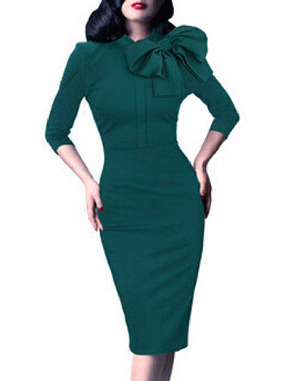 shop Bowtie Solid Color Stand Collar Pencil Dress - GREEN XL