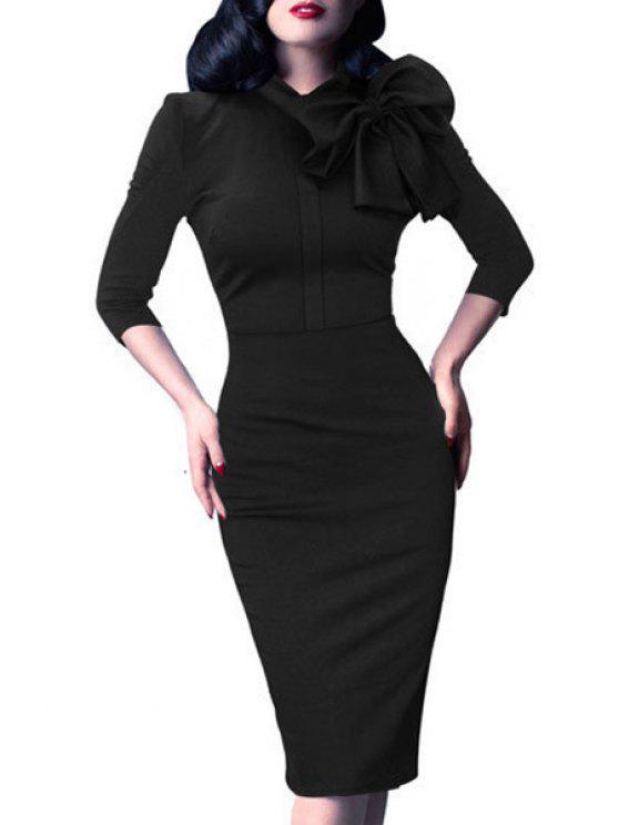 lady Bowtie Solid Color Stand Collar Pencil Dress - BLACK L