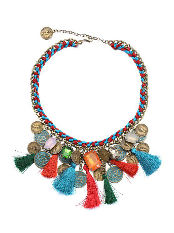 lady Ethnic Tassel Statement Necklace - COLORMIX