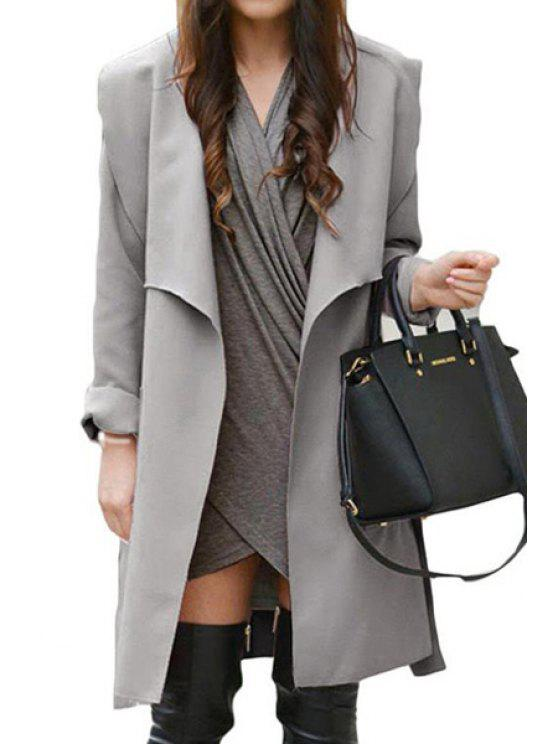 ladies Solid Color Belted Turn-Down Collar Trench Coat - SILVER GRAY S