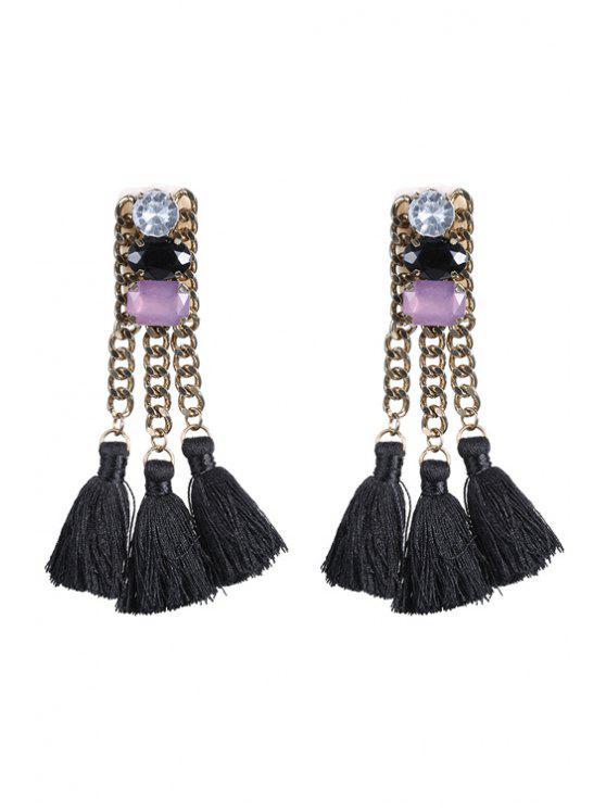 sale Tassel Pendant Ethnic Earrings - BLACK