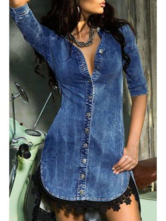 outfits Half Sleeve Single-Breasted Denim Dress - BLUE M