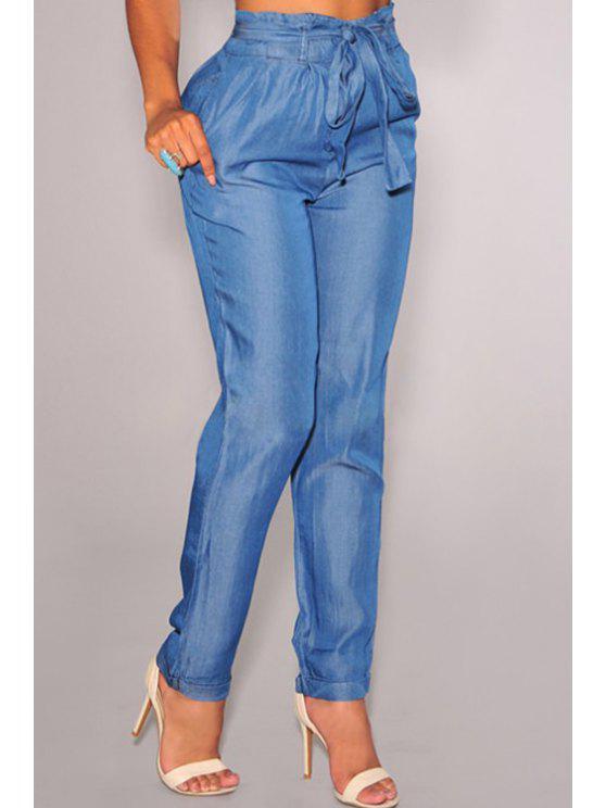 sale Elastic Waist Tie-Up Blue Loose Jeans - LIGHT BLUE M