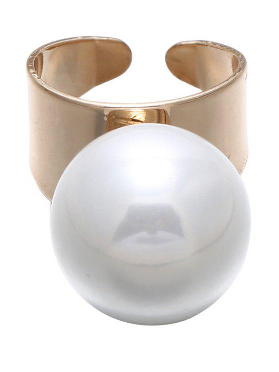latest Faux Pearl Cuff Ring - GOLDEN