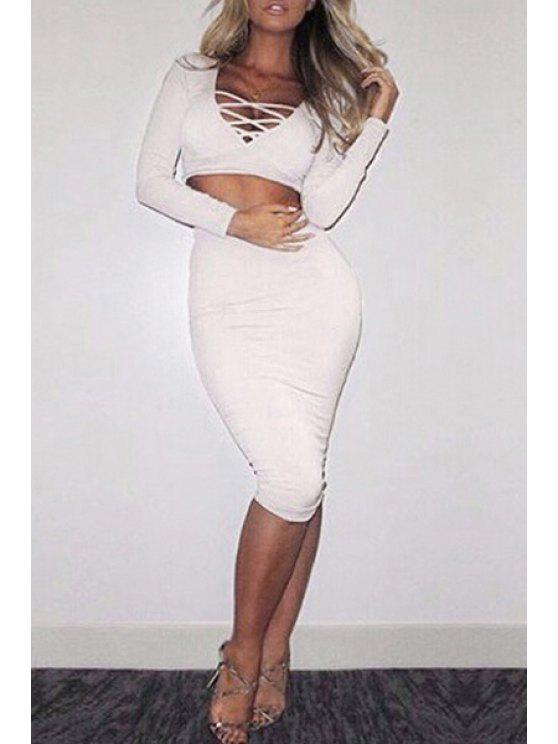 women's Long Sleeve Crop Top + High-Waisted Pencil Skirt Twinset - WHITE ONE SIZE(FIT SIZE XS TO M)