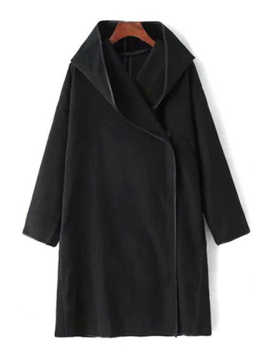online Hooded Long Sleeve Button Design Black Coat - BLACK M