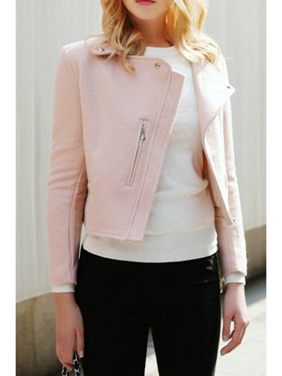 ladies Zippered Pink Wool Jacket - PINK S